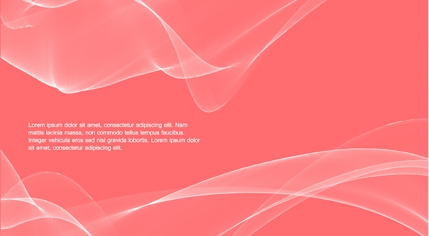 Magic wave color . living coral, the color of the year. awesome white lines over pink background.