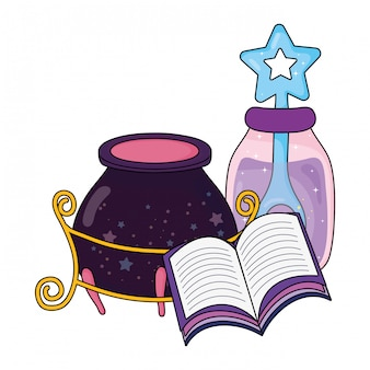Magic witch cauldron with potion bottle and book