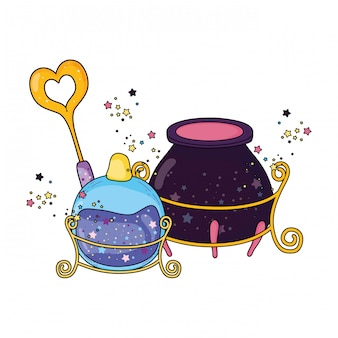 Magic witch cauldron with potion bottle and wand