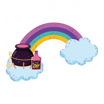 Magic witch cauldron with potion bottles in rainbow