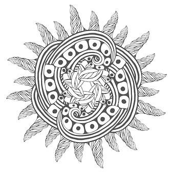 Magic zentangle art for coloring book pages. mandala for tattoo design
