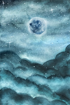 Magical blue moon and cloudy blue sky