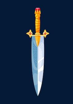 Magical cartoon dagger steel blade in golden hilt