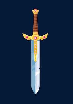 Волшебный мультяшный меч рыцаря, оружие из холодного оружия, украшенное драгоценными камнями, и золотая ручка, обернутая кожаным шнурком. элемент дизайна пользовательского интерфейса для компьютерной игры, изолированные на синем фоне