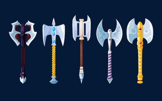 魔法の漫画の鋼の斧と手斧の武器