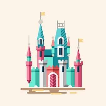 Волшебный замок сказочный дворец плоская иллюстрация