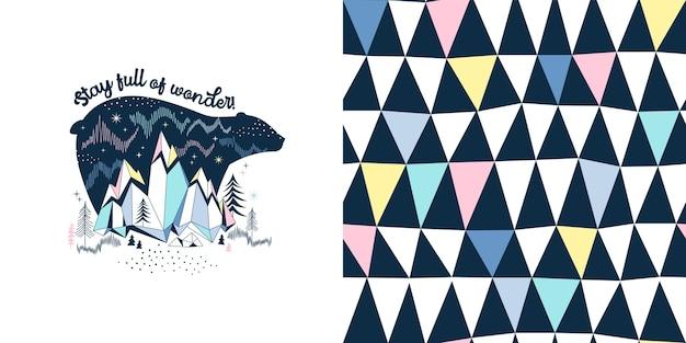 Magical childish fashion textile graphics set