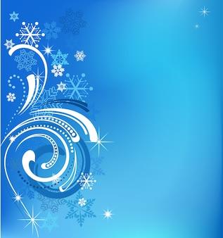 소용돌이와 눈송이-인사말 카드, 배너 또는 포스터 템플릿 마법의 크리스마스 파란색 배경