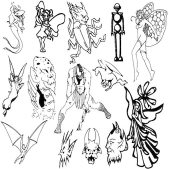 Magical creatures vector collection