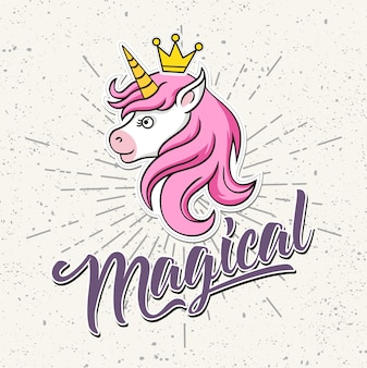 Magical, cute unicorn with crown