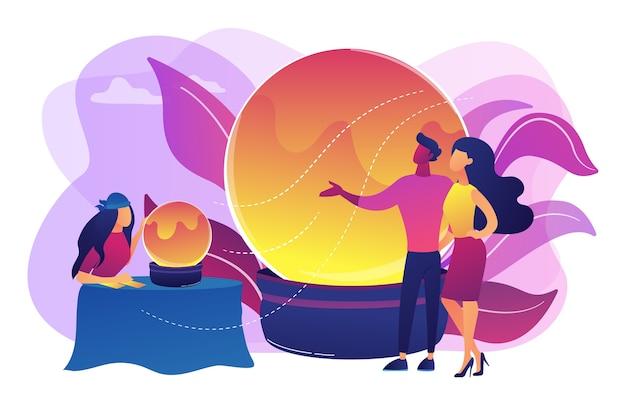 魔法の占いとカード占い。ジプシーの占い師、クライアントとの預言者。占い、オンライン占い、タロット占いサービスのコンセプト。明るく鮮やかな紫の孤立したイラスト