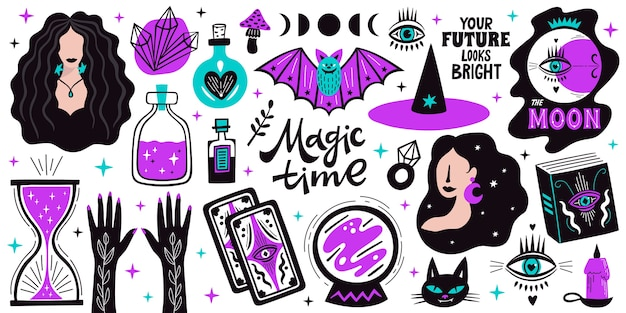 Magical doodle witch illustration icons set. magic and witchcraft, witch esoteric alchemy elements.