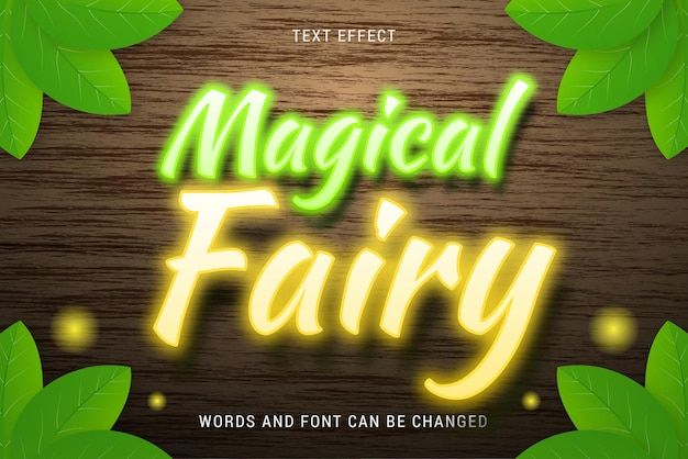 Magical fairy text effect with leaves isolated on wood background editable eps cc