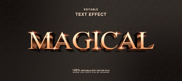 Magical golden text effect editable magic text style