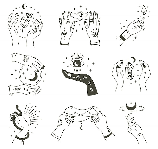 Волшебные руки. оккультная волшебная рука бохо, мистический символ ведьмы, колдовство рисованной руки с набором иконок иллюстрации луны и кристалла. магическое духовное колдовство, мистическое эзотерическое