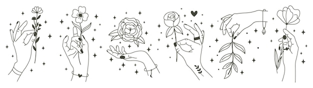 Magical hands holding flowers. minimalist hands and flowers, abstract hand drawn floral.