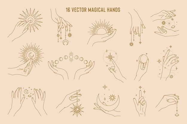 Magical hands set of linear logo template