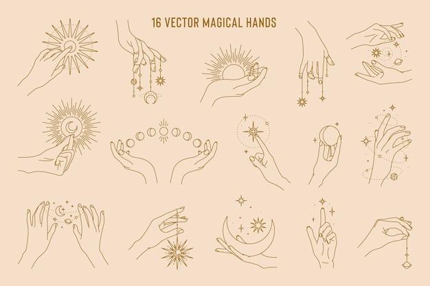선형 로고 템플릿의 마법의 손 세트