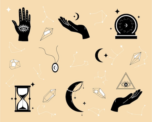Magical items for fortune telling and astrology in a modern style, numerology and esoterica