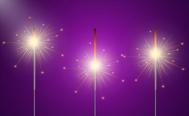 Magical light. sparkler. candle sparkling on the background. realistic light effect.