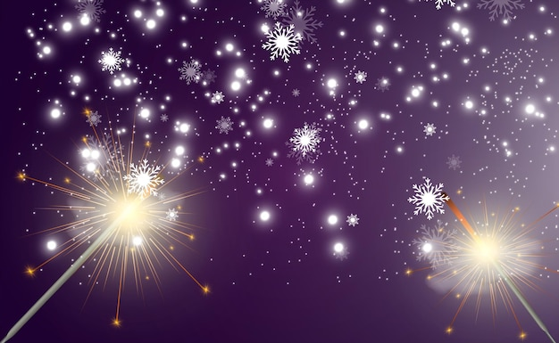 Magical light sparkler candle sparkling on the background realistic vector light effect winter