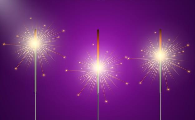 Волшебный свет. спарклер. свеча сверкает на заднем плане. реалистичный световой эффект.
