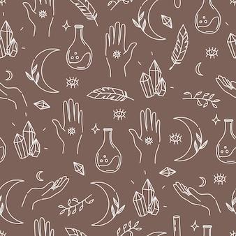 선형 손으로 그린 스타일의 마법의 마법 요소 패턴