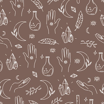 Magical magic elements pattern in linear hand drawn style