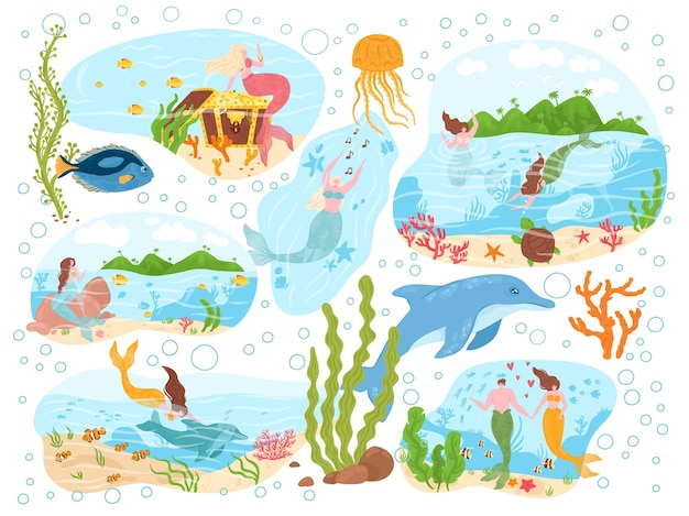 Magical mermaid sea creature ocean character nymph with marine animal dolphin poster banner set flat...