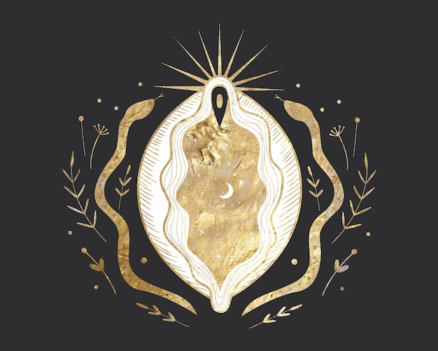 Волшебная мистическая сакральная иллюстрация в винтажном стиле ретро гравюры