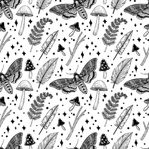 Magical natural elements seamless pattern.