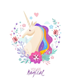 Magical poster with unicorn portrait