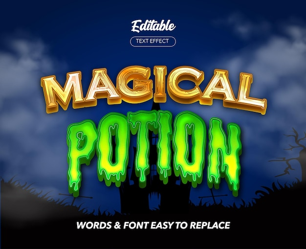 Magical potion theme style vector text effect