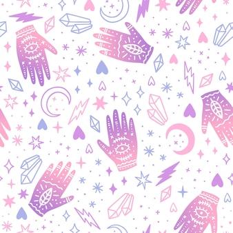 Magical ritual hands hand drawn seamless pattern