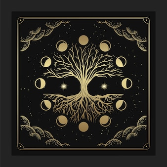 Magical sacred tree of life with moon phase decoration in luxurious hand drawn style