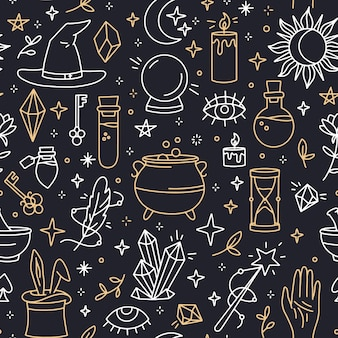 A magical seamless pattern with linear witchcraft and mystical symbols
