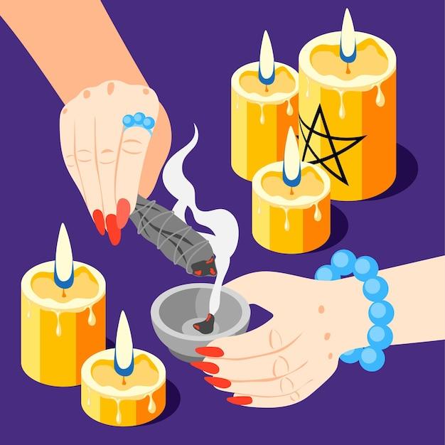 Composizione isometrica in servizi magici con immagini di candele accese e mani di chiromante che eseguono l'illustrazione rituale di spodomanzia