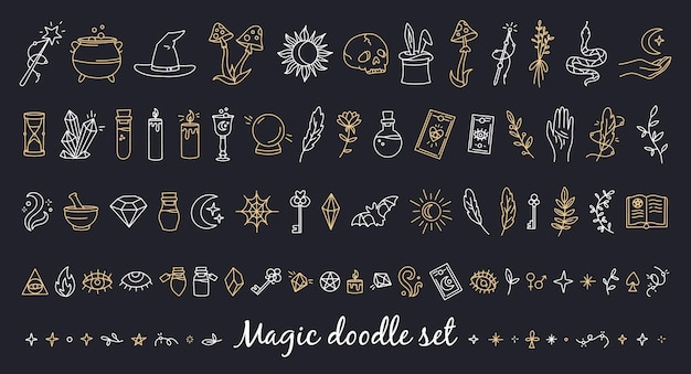 A magical set of doodle style icons with esoteric items