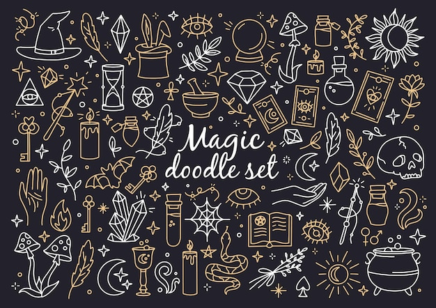 A magical set of witchcraft and mystical icons in doodle style