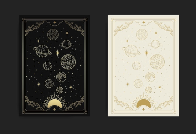 Magical solar system, sun planet and starry space
