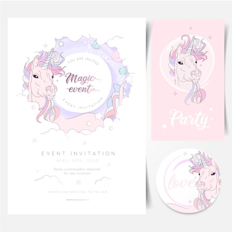 Magical space unicorn birthday party invitation
