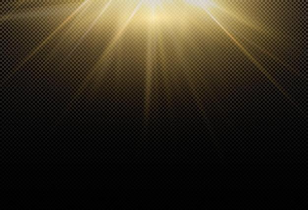 마법의 반짝이는 황금빛 글로우 효과. 빛 에너지의 강력한 에너지 흐름. 프리미엄 벡터