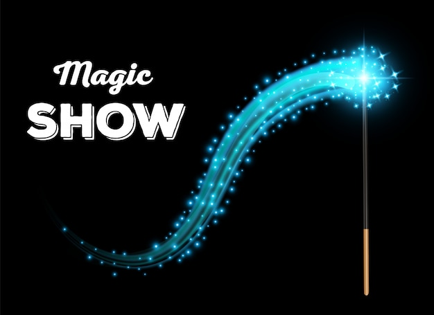 Magical stick with sparkle, wizard wand tool glow.
