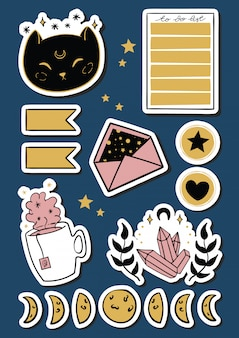 Magical stickers set illustration