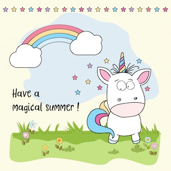 Magical summer background with unicorn