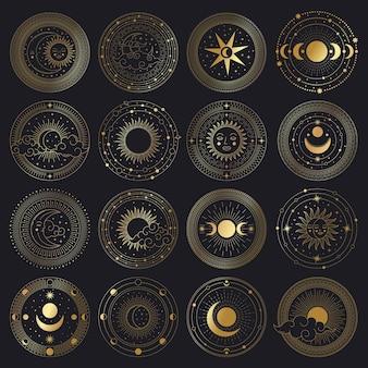마법의 태양과 달의 원. 신성한 황금 화려한 원형 프레임, 태양, 달과 구름 그림 세트
