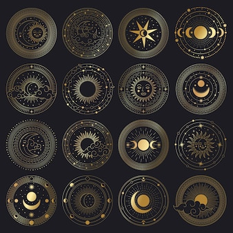 Magical sun and moon circle. sacred golden ornate circle frames, sun, moon and clouds illustration set