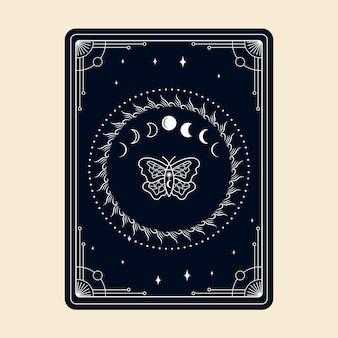 마법의 타로 카드 밀교 신비로운 boho 영적 리더 요술 마법의 수정과 마법의 상징