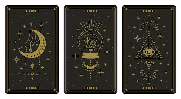 魔法のタロットカード。魔法の神秘的なタロットカード、難解な自由奔放に生きる精神的なタロットリーダーの月、水晶と魔法の目のシンボルイラストセット。マジックカード占星術、精神的なポスターを描く