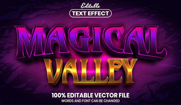 Magical valley text, font style editable text effect